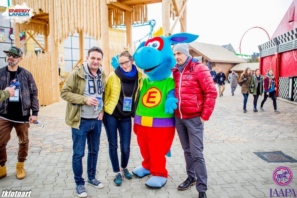 Od lewej: Mikołaj Jędrzejkowski, Agata Jakób (Loopys World), Energuś, Adam Wicher (Magiczne Ogrody)