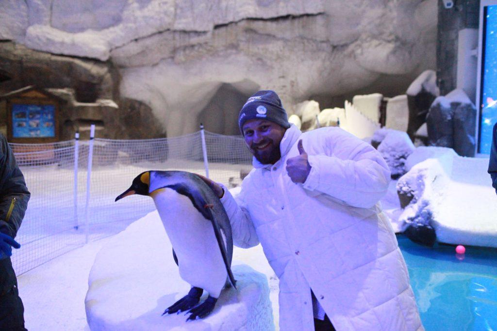 Autor w towarzystwie pingwinka, mieszkającego na środku pustynii w Ski Dubaj