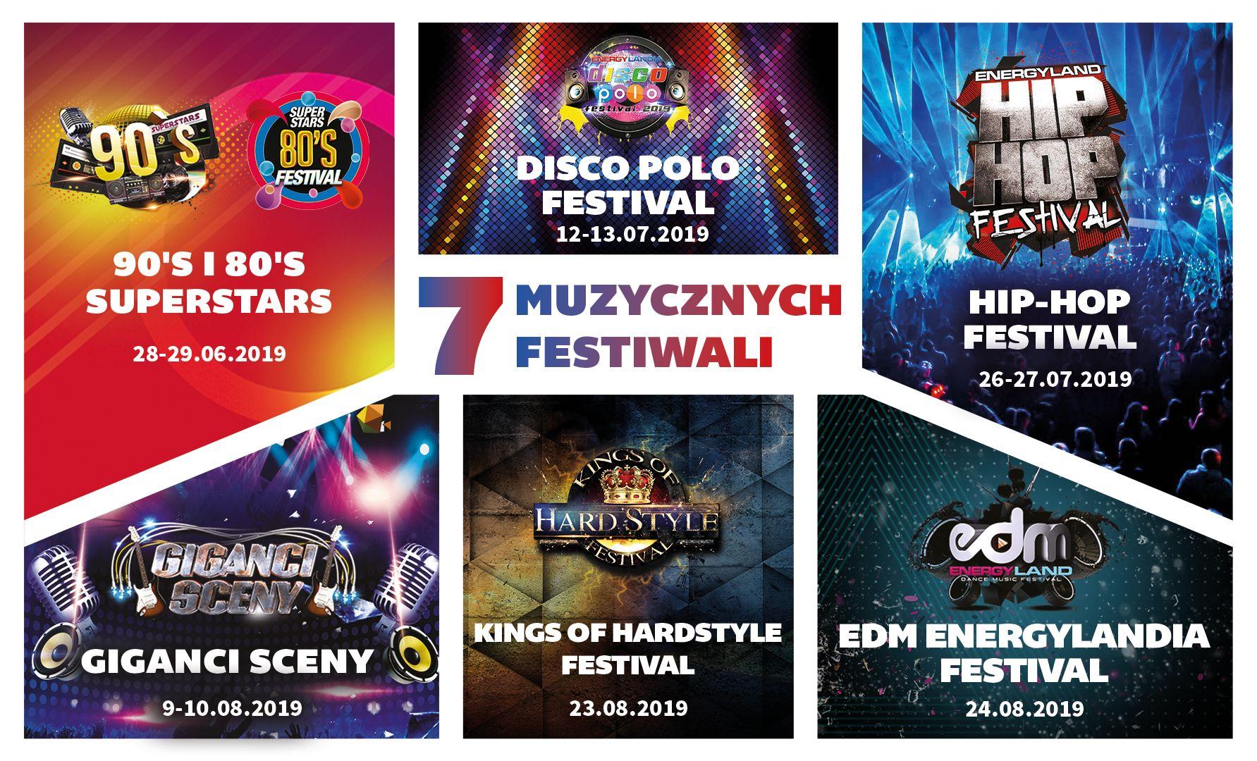 Grafika promująca muzyczne festiwale w EnergyLandii